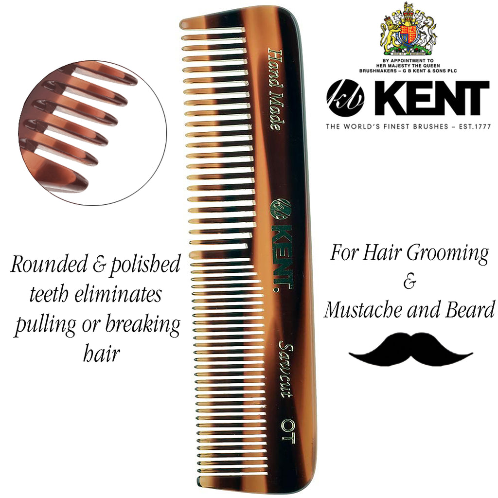 "Kent OT 4 1/2"" Hand Made Pocket Comb Coarse / Fine Men Women. Sawcut"