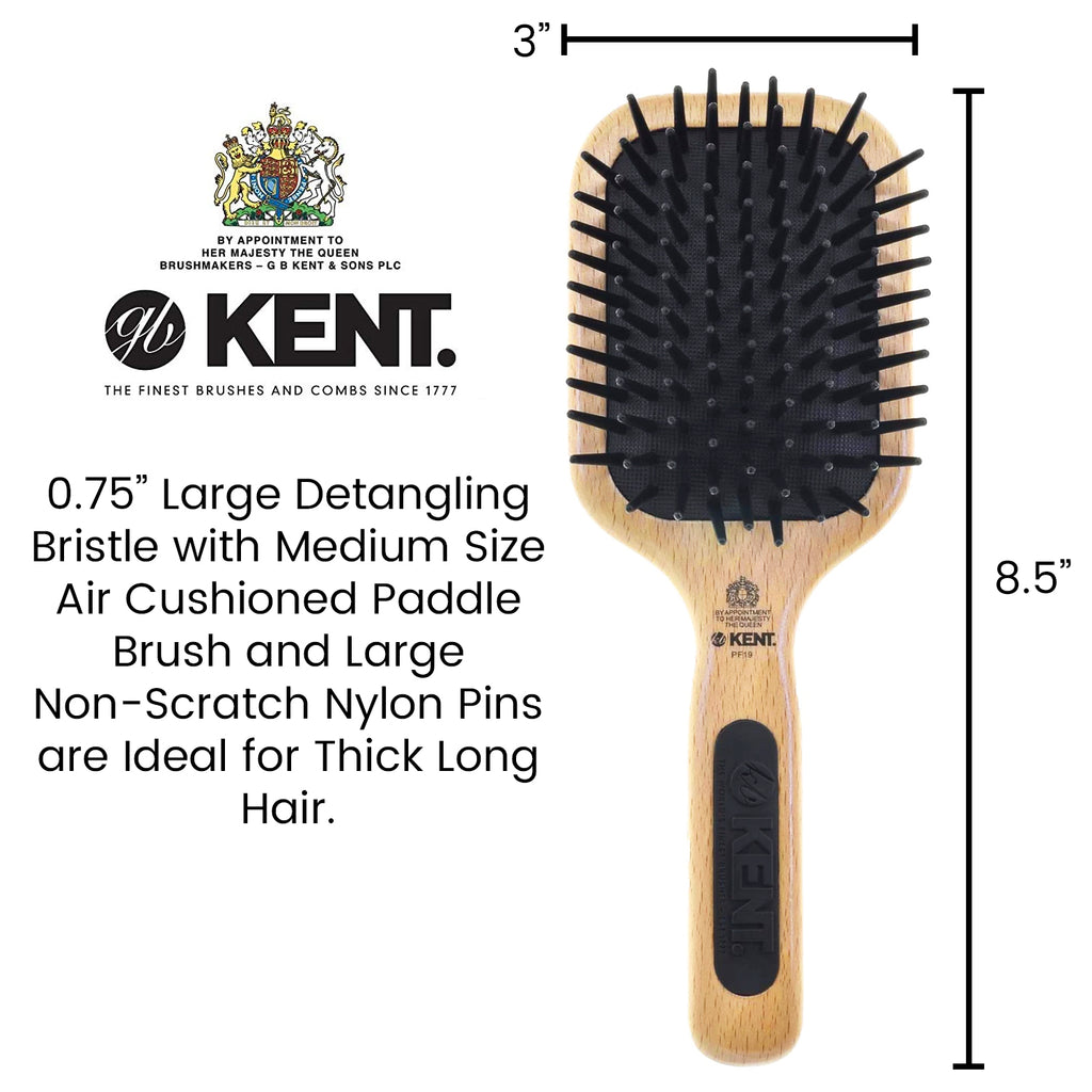 Kent PF19 Natural Beechwood Detangling Large Pin Cushion Paddle Brush