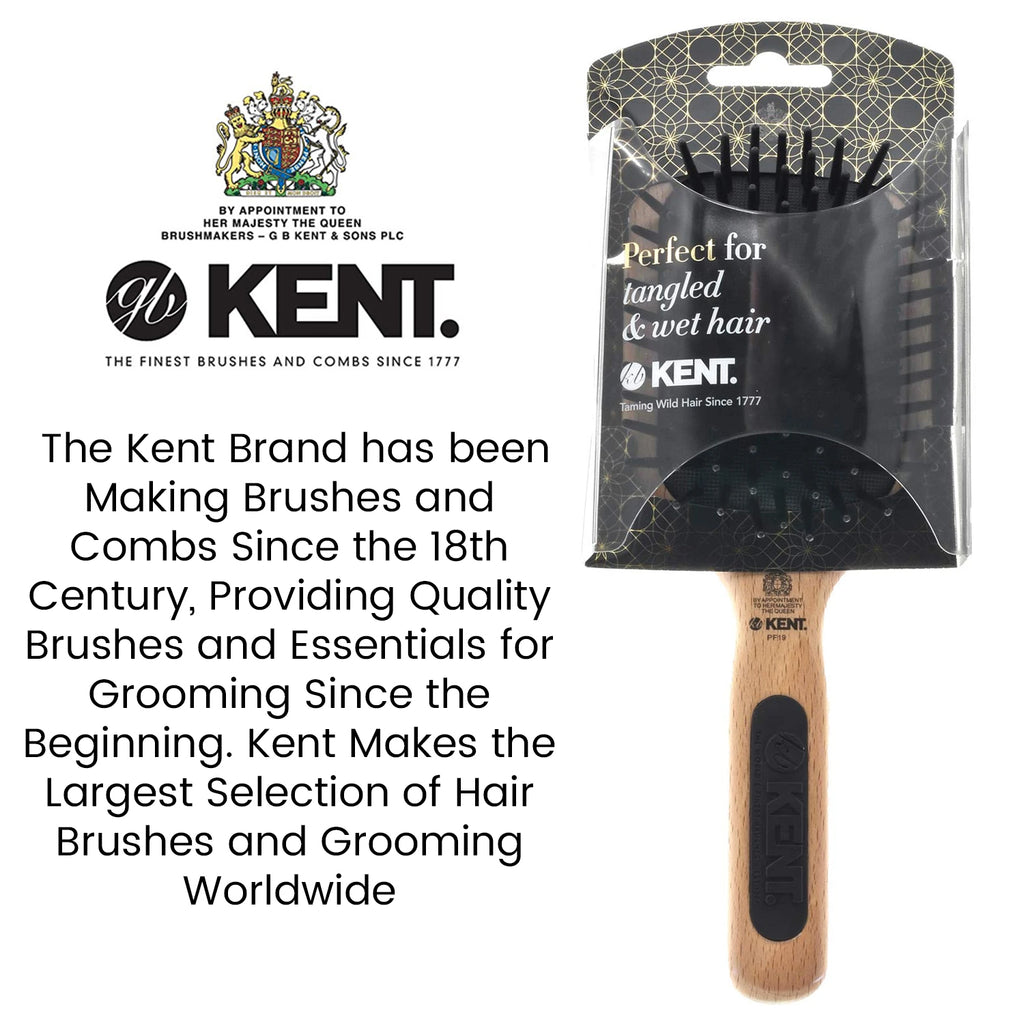 Kent PF18 Natural Beechwood Fine Ball-Tipped Pin Cushion Paddle Brush