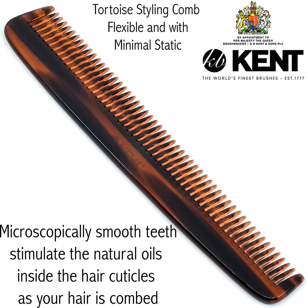 Kent R9T 7.5 Inch Handmade Wide Teeth Comb for Thick Curly Wavy Hair