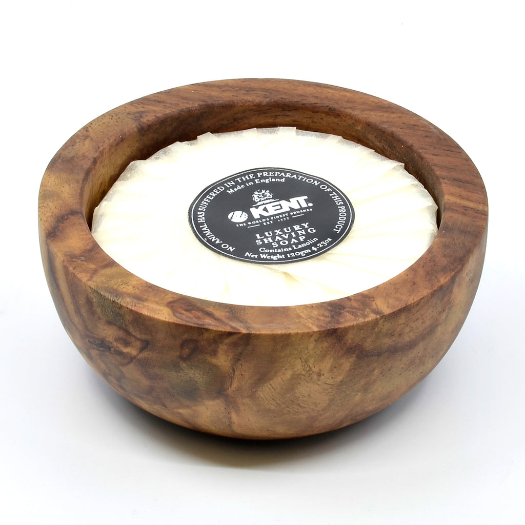 Kent SB6 Dark Oak Shaving Bowl with Luxury Shaving Soap