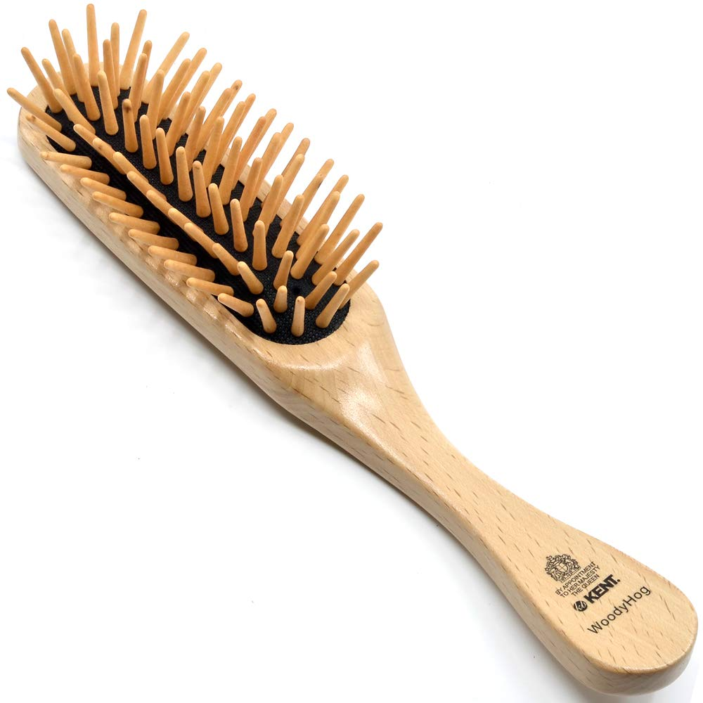Kent KB WoodyHog Large Grooming Cushion Hair Brush with Wooden Quills