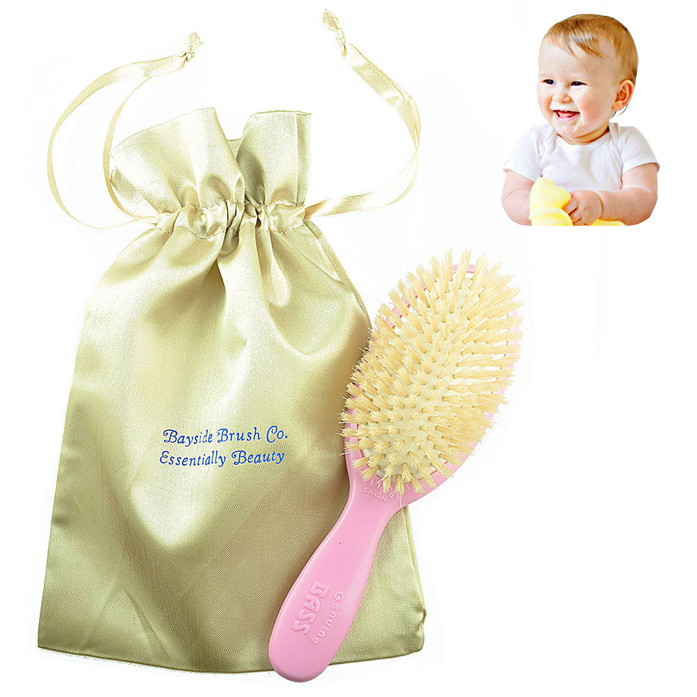 Bass Baby BS27 Hair Brush,100% Pure Soft White Natural Bristles and Gold Satin Brush Travel Bag. For Newborns Infants and Toddlers with Fine Hair. Detangle Hair, Massage and Stimulate the Scalp (Pink)