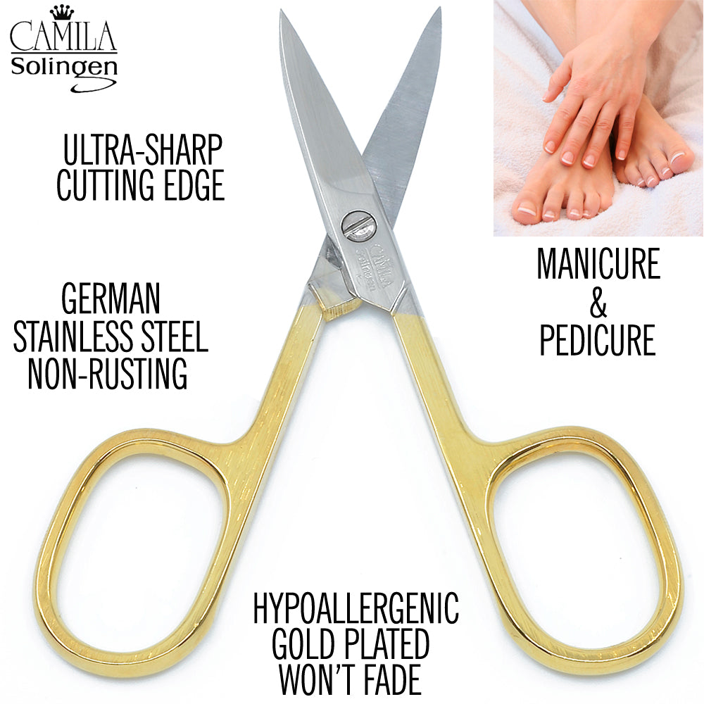"Camila Solingen CS02 3 1/2"" Professional Hypoallergenic Gold Plated Manicure & Pedicure Sharp Curved Nail Cutting Scissors. Made of Durable Stainless Steel in Solingen, Germany"