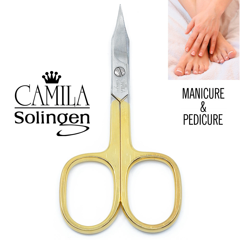 "Camila Solingen CS03 3.5"" Gold Plated Curved Nail & Cuticle Scissors."