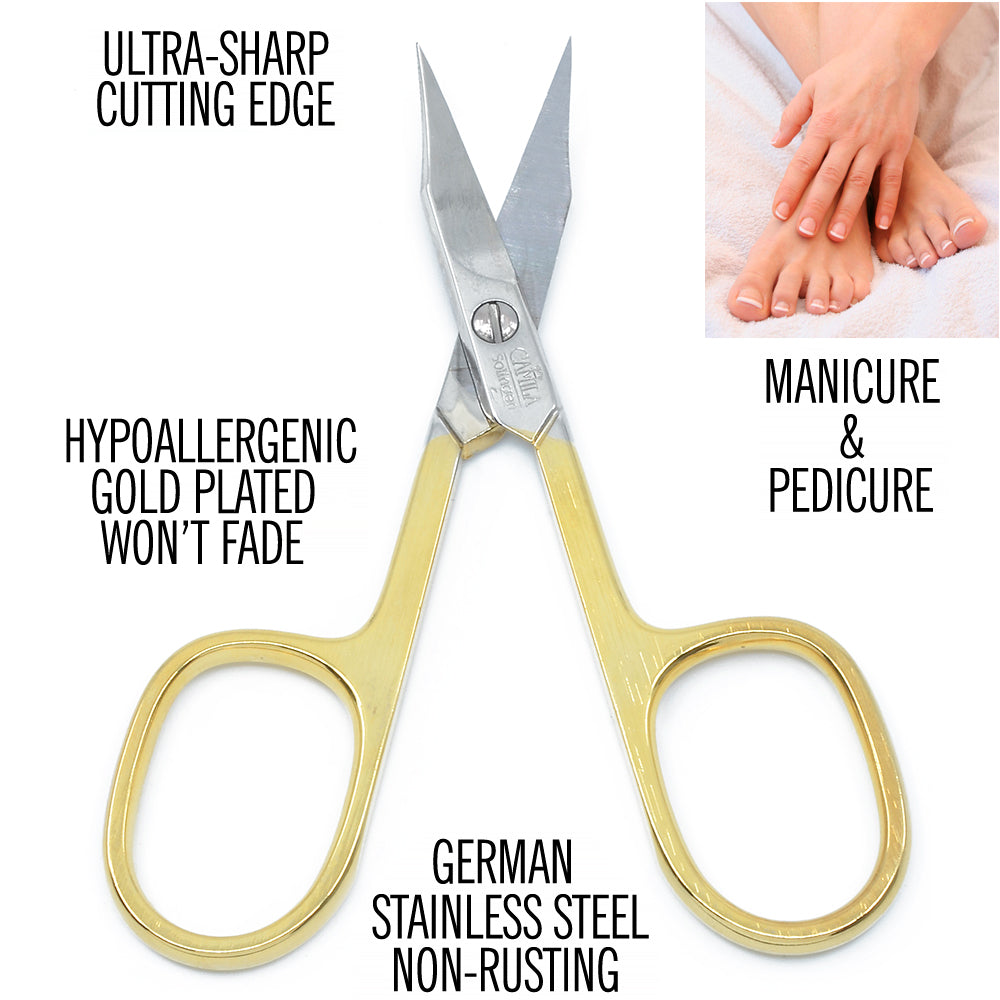 "Camila Solingen CS03 3 1/2"" Professional Hypoallergenic Gold Plated Combination Nail & Cuticle Manicure & Pedicure Sharp Curved Nail Cutting Scissors. Made of Stainless Steel in Solingen, Germany"