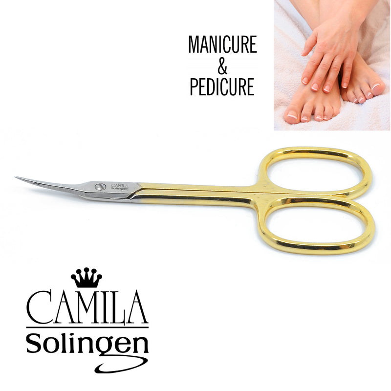 "Camila Solingen CS04 3 1/2"" Professional Hypoallergenic Gold Plated Combination Nail & Cuticle Manicure & Pedicure Sharp Curved Nail Cutting Scissors. Made of Stainless Steel in Solingen, Germany"