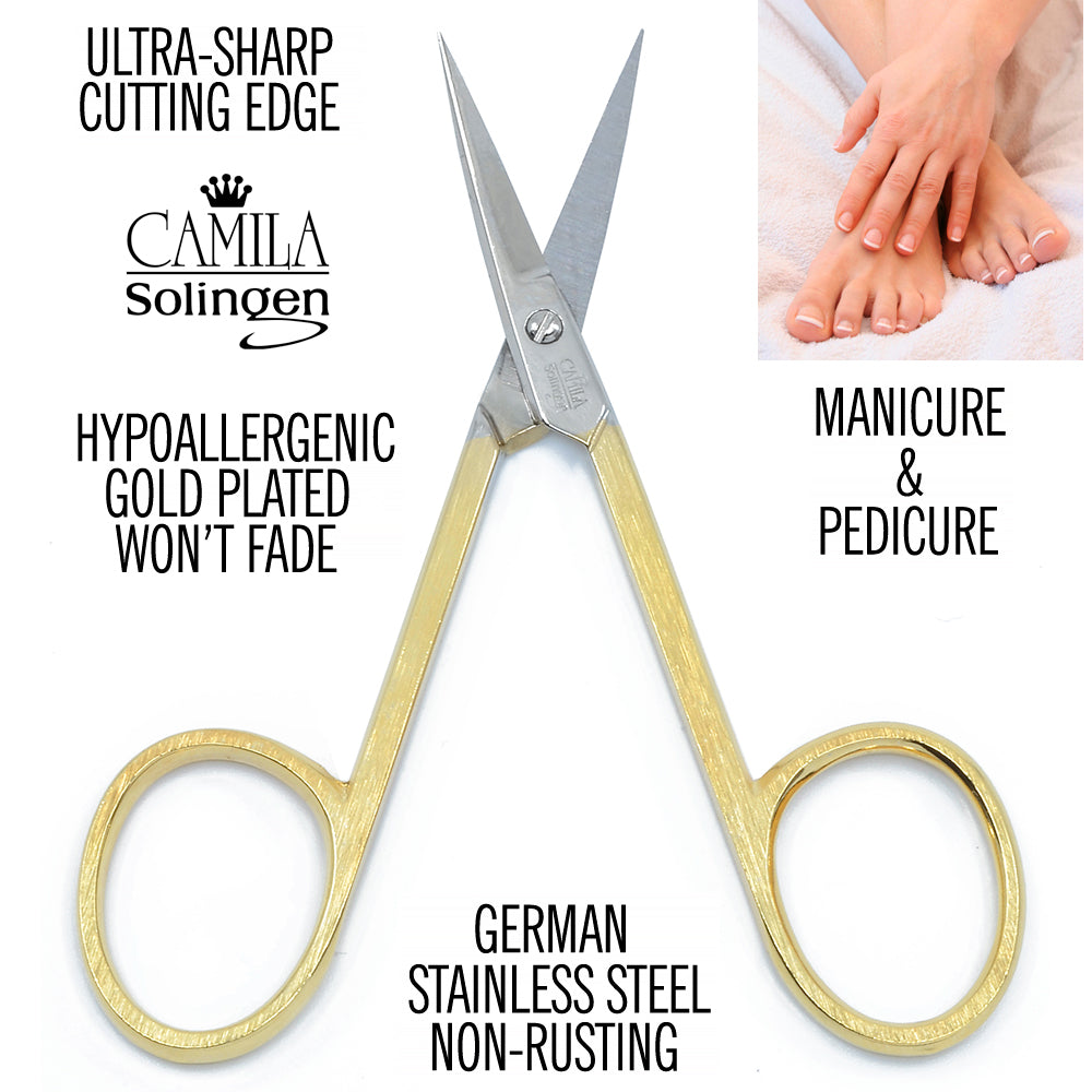 "Camila Solingen CS05 3 1/2"" Gold Plated Nail & Cuticle Curved Scissors"