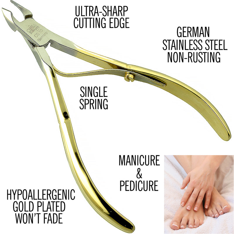 "Camila Solingen CS10 4"" Professional Nail Cuticle Nipper/Clipper/Cutter for Manicure and Pedicure, from Solingen, Germany best Stainless Steel. Cuticle trimmer Medium Blade 7mm"