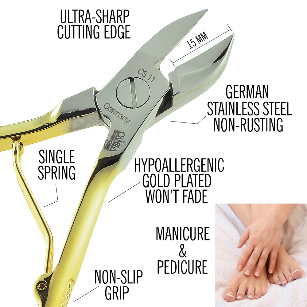 "Camila Solingen CS11 Professional 4"" Nail Toenail Nipper / Clipper / Cutter for Manicure and Pedicure. Heavy Duty Precision Super Sharp Curved Stainless Steel 15mm Blade from Solingen Germany"