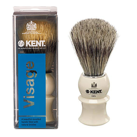 Kent VS80 Small Wooden Barrel Pure Bristles Shaving Brush. Badger bristle effect