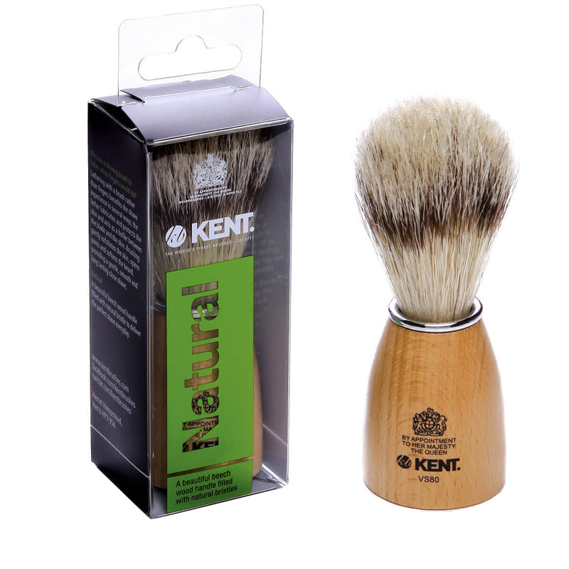 Kent VS80 Small Wooden Barrel Pure Bristles Shaving Brush. Badger bristle effect Shaving Brush
