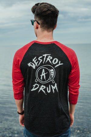 Box Logo Destroy A Drum Red Baseball Tee