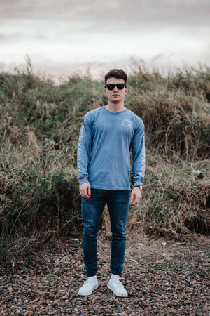 Signature Logo Destroy A Drum Blue Long Sleeve