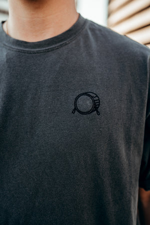 Embroidered Signature Bass Drum Charcoal Tee