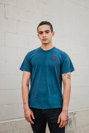 Embroidered Signature Logo Navy Tee