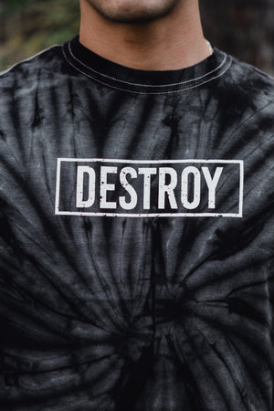 Box Logo Destroy A Drum Black Tie-Dye Tee