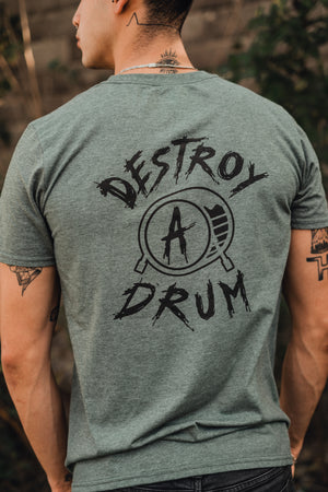 Signature Logo Destroy A Drum Olive Heather Tee