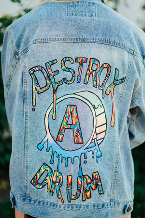 1 OF 1 Hand Painted Embroidered Destroy A Drum Denim Jacket