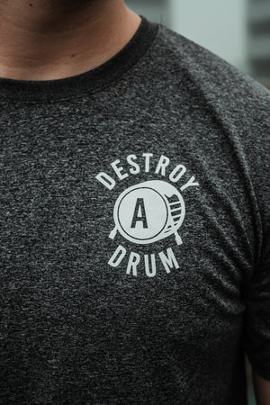 Destroy A Drum Hit Hard Performance Dri-Fit Heather Black Tee