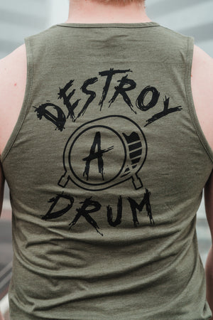 Signature Logo Destroy A Drum Olive Cut Off Tee