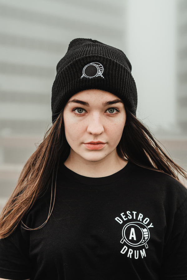 Signature Logo Black Cuffed Beanie