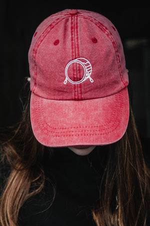 Signature Logo Leather Strapback Red Cap
