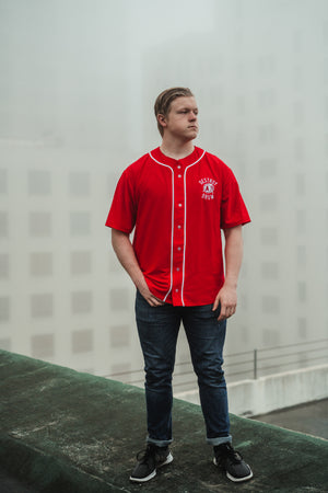 Embroidered Destroy A Drum Red Baseball Jersey