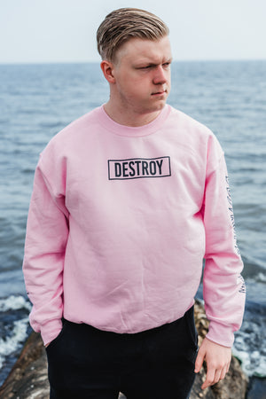 Box Logo Destroy A Drum Pink Crewneck