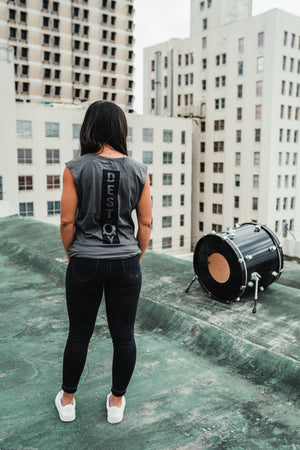 Destroy A Drum Charcoal Cut Off Tee