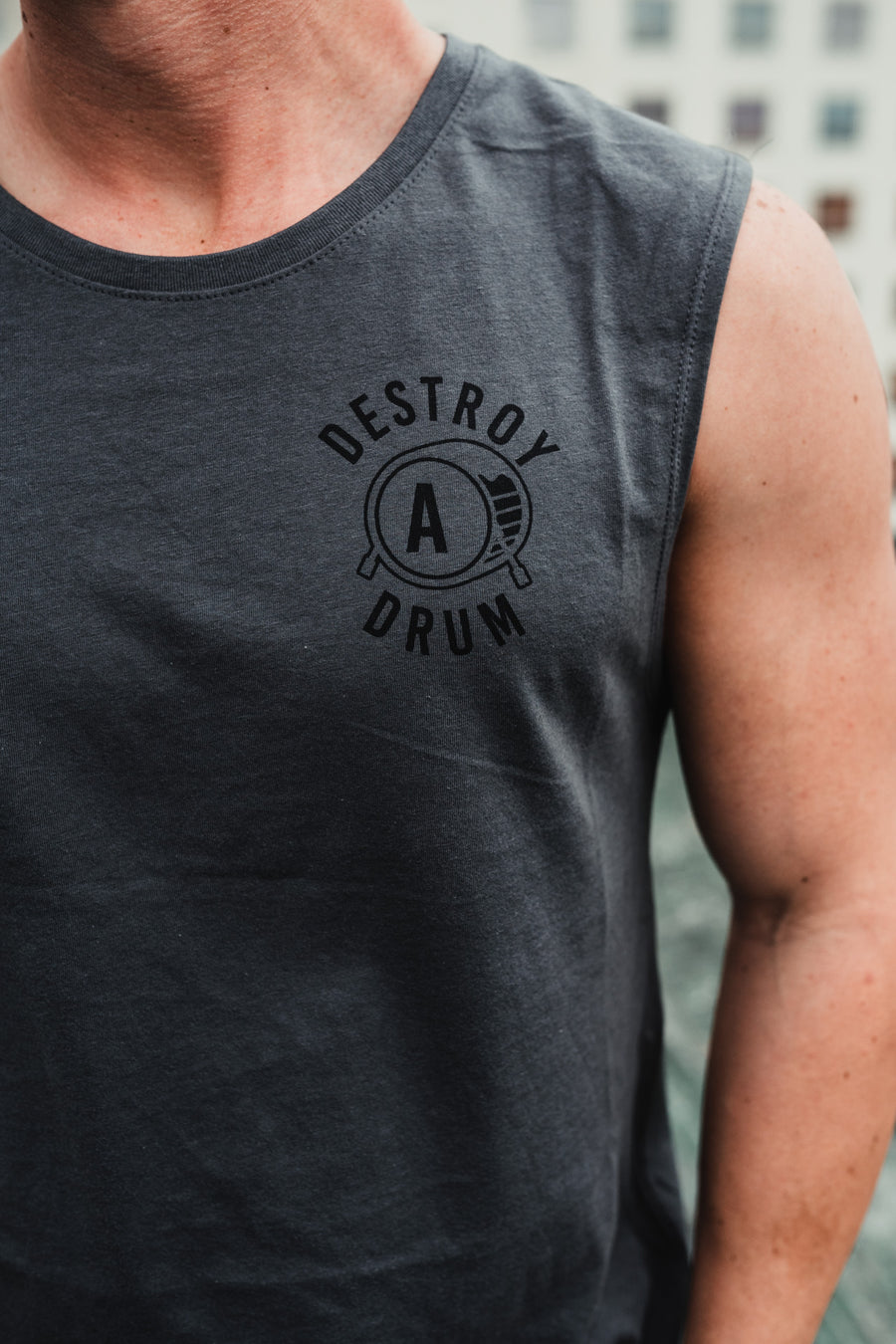 Destroy A Drum Stone Cut Off Tee