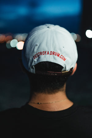 Embroidered Destroy A Drum Leather Strapback