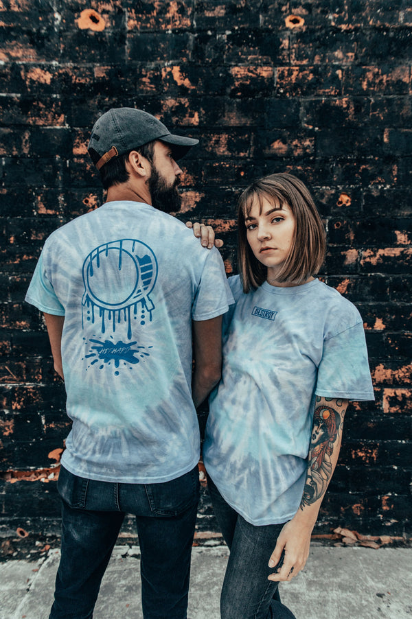 1 OF 1 Embroidered HIT HARD Puddle Tie-Dye Tee