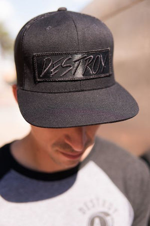 Destroy Black On Black Trucker Cap