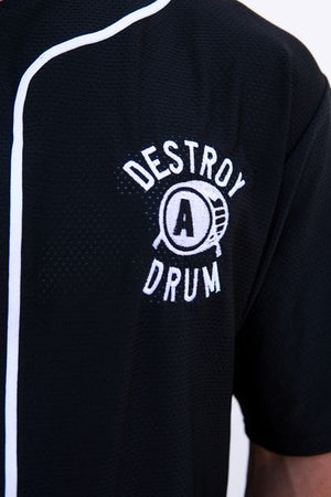 Embroidered Destroy A Drum Black Baseball Jersey