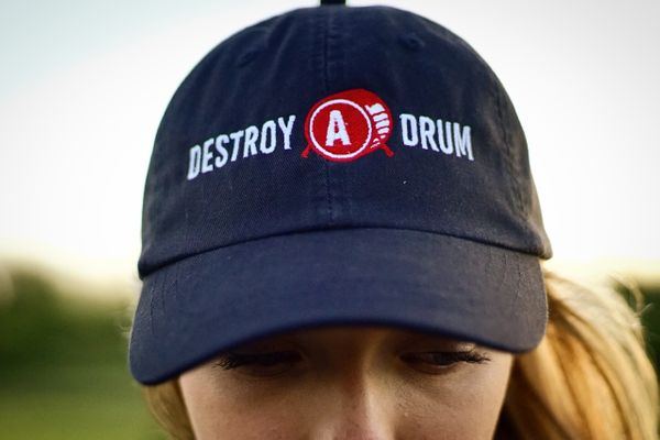 Destroy A Drum Leather Strapback Black Cap