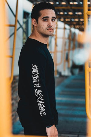 Signature Logo Destroy A Drum Black Long Sleeve