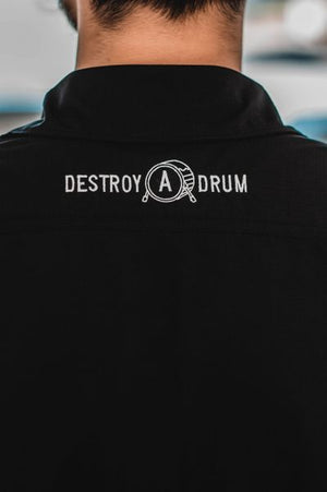 Embroidered Signature Logo Destroy A Drum Performance Button-Up