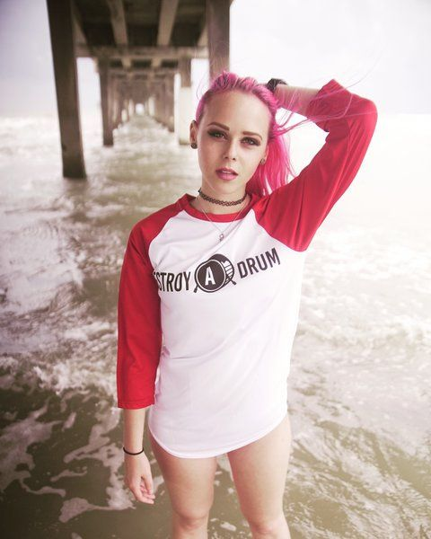 Destroy A Drum Dri-Fit Red Baseball Tee
