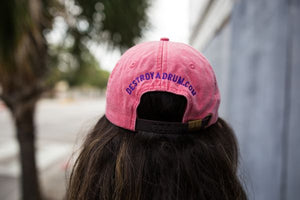 She Destroys Leather Strapback Coral Cap