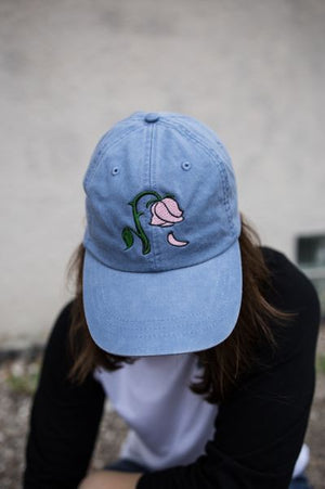 Floral Leather Strapback Denim Cap
