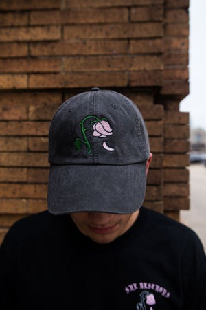 Floral Leather Strapback Stone Cap