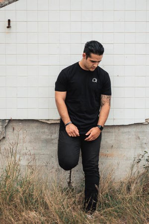 Embroidered Signature Logo Black Tee