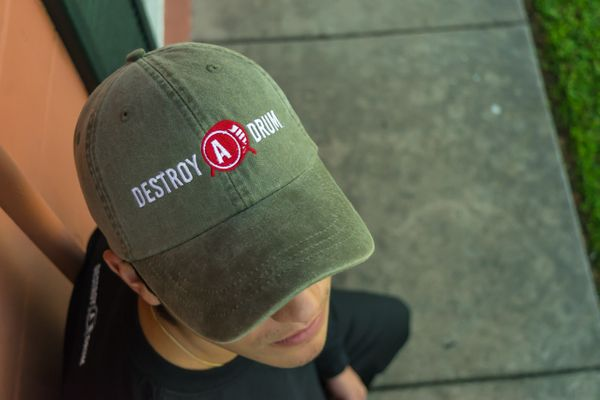 Destroy A Drum Leather Strapback Olive Cap