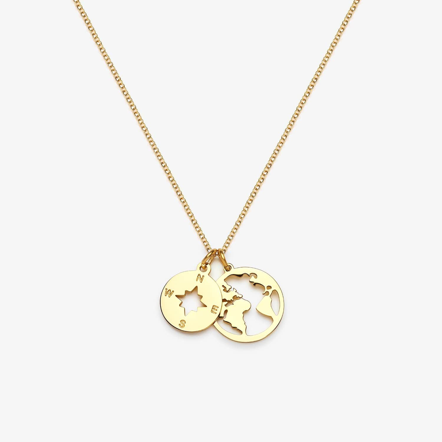 Globe & Compass Necklace (Gold)