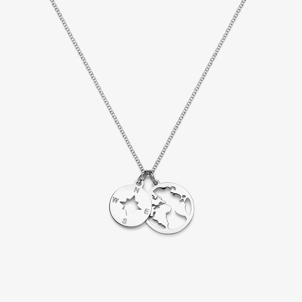 Globe & Compass Necklace (Silver)