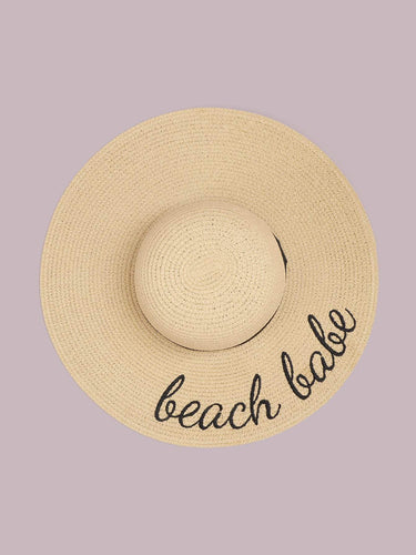 Letter Embroidery Straw Hat