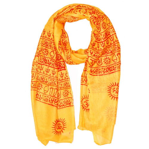Yellow Primordial Printed Scarf