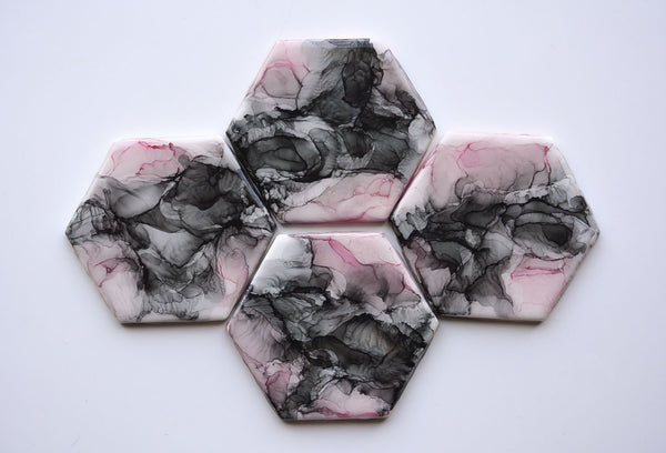 Blush and Black Coasters