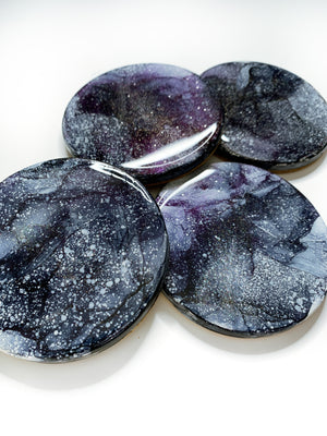 Purple Aura Moon Coasters